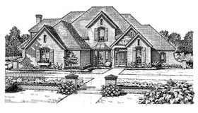 House Plan 98537 | European French Country Style Plan with 3377 Sq Ft, 4 Bedrooms, 4 Bathrooms, 3 Car Garage Elevation