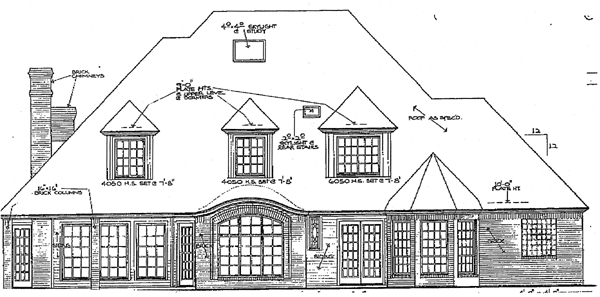 French Country , Tudor House Plan 98539 with 4 Beds, 4 Baths, 3 Car Garage Rear Elevation