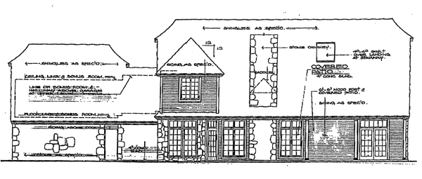 Tudor , Rear Elevation of Plan 98546