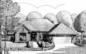 European One-Story Elevation of Plan 98547