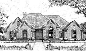European House Plan 98548 with 4 Beds, 3 Baths, 3 Car Garage Elevation
