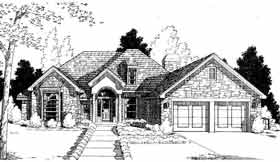 House Plan 98550 | Colonial European Style Plan with 2506 Sq Ft, 4 Bedrooms, 3 Bathrooms, 2 Car Garage Elevation