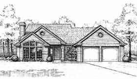 House Plan 98560 | Country Traditional Style Plan with 1596 Sq Ft, 3 Bedrooms, 3 Bathrooms, 2 Car Garage Elevation