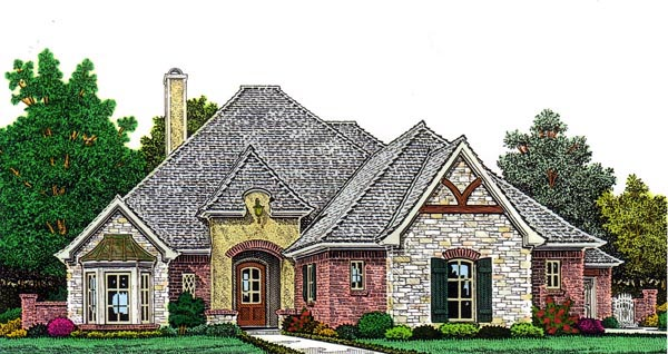Country , European House Plan 98562 with 3 Beds, 3 Baths, 4 Car Garage Elevation