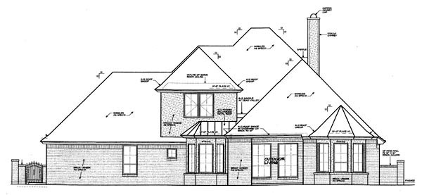 Country , European House Plan 98562 with 3 Beds, 3 Baths, 4 Car Garage Rear Elevation