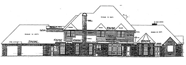 French Country, Tudor House Plan 98563 with 4 Beds, 5 Baths, 3 Car Garage Rear Elevation