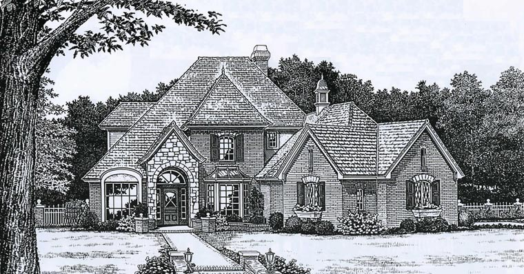 European French Country Victorian Elevation of Plan 98568