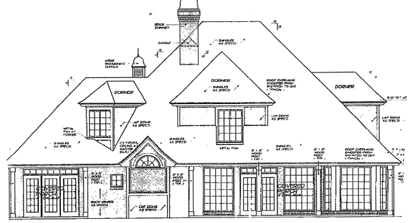 European French Country Victorian Rear Elevation of Plan 98568