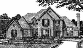 European, French Country, Tudor House Plan 98570 with 3 Beds, 3 Baths, 3 Car Garage Elevation