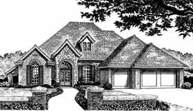 European House Plan 98579 with 3 Beds, 3 Baths, 3 Car Garage Elevation