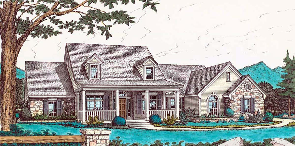 Country House Plan 98583 with 4 Beds, 2 Baths, 3 Car Garage Elevation