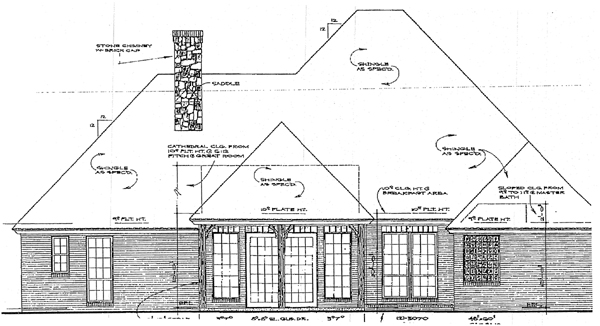 European House Plan 98584 Rear Elevation