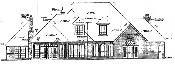 European, French Country, Tudor House Plan 98585 with 4 Beds, 4 Baths, 3 Car Garage Rear Elevation
