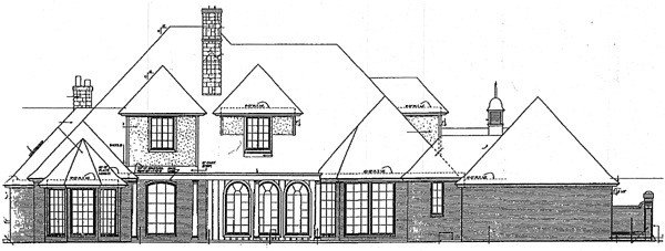 European French Country Tudor House Plan 98587 Rear Elevation
