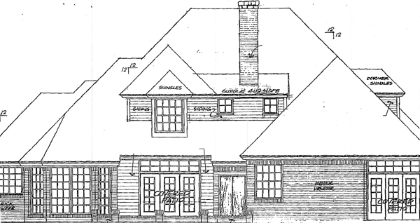 European French Country Rear Elevation of Plan 98588