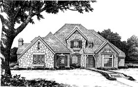 European, French Country House Plan 98592 with 4 Beds, 4 Baths, 3 Car Garage Elevation