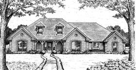 European House Plan 98593 with 4 Beds, 3 Baths, 3 Car Garage Elevation