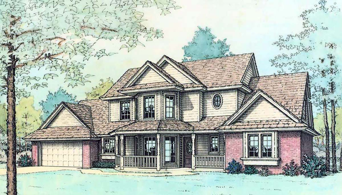 Contemporary, Farmhouse House Plan 98595 with 4 Beds, 3 Baths, 2 Car Garage Elevation
