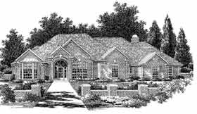One-Story, Traditional House Plan 98597 with 4 Beds, 4 Baths, 3 Car Garage Elevation