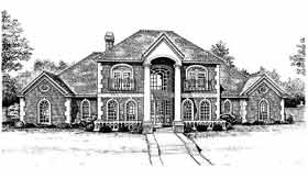 Colonial European French Country Elevation of Plan 98599