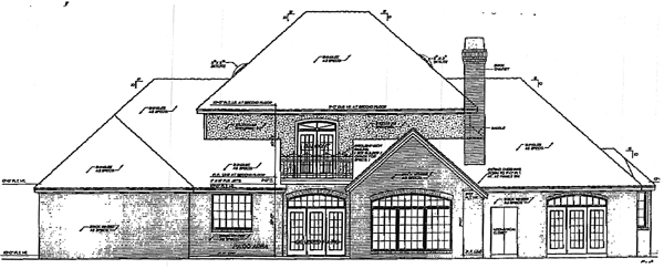 Colonial European French Country Rear Elevation of Plan 98599