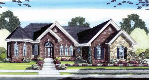 European Tudor House Plan 98602 Elevation