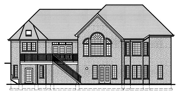 House Plan 98602 | European Tudor Style Plan with 4457 Sq Ft, 3 Bedrooms, 4 Bathrooms, 3 Car Garage Rear Elevation