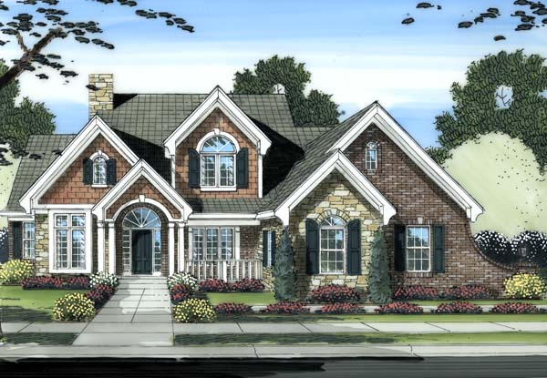 Traditional House Plan 98603 with 4 Beds, 4 Baths, 2 Car Garage Front Elevation