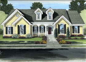 Country , Colonial House Plan 98608 with 3 Beds, 2 Baths, 2 Car Garage Elevation