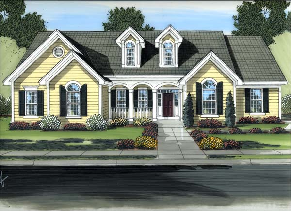Colonial Country House Plan 98608 Elevation