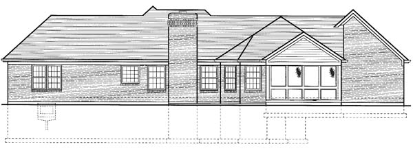 House Plan 98612 | Traditional Style Plan with 1759 Sq Ft, 3 Bedrooms, 2 Bathrooms, 2 Car Garage Rear Elevation