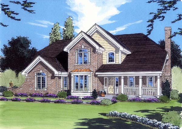 Traditional House Plan 98617 with 4 Beds , 3 Baths , 2 Car Garage Elevation
