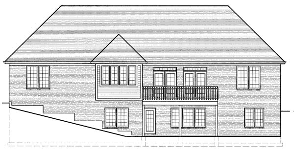 House Plan 98618 | Traditional Style House Plan with 3305 Sq Ft, 4 Bed, 3 Bath, 2 Car Garage Rear Elevation