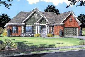 House Plan 98619 | Traditional Style Plan with 1979 Sq Ft, 3 Bedrooms, 2 Bathrooms, 2 Car Garage Elevation