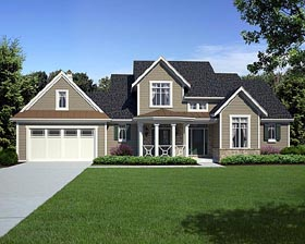 House Plan 98629 | Craftsman Traditional Style Plan with 2239 Sq Ft, 4 Bedrooms, 3 Bathrooms, 2 Car Garage Elevation