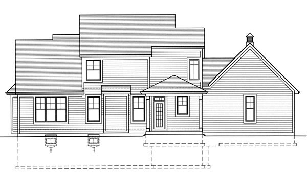House Plan 98629 | Craftsman Traditional Style Plan with 2239 Sq Ft, 4 Bedrooms, 3 Bathrooms, 2 Car Garage Rear Elevation