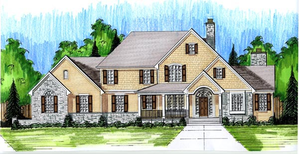 Colonial Country House Plan 98639 Elevation