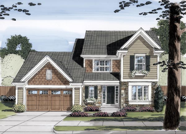 Traditional House Plan 98643 with 4 Beds, 3 Baths, 2 Car Garage Elevation