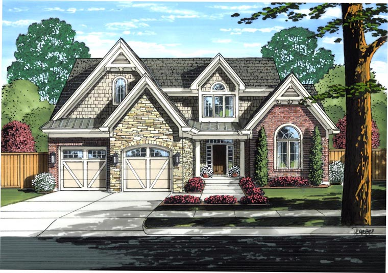 House Plan 98645 | Country Style Plan with 1986 Sq Ft, 3 Bedrooms, 3 Bathrooms, 2 Car Garage Elevation