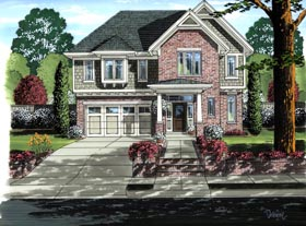 European , Country House Plan 98646 with 4 Beds, 3 Baths, 2 Car Garage Elevation