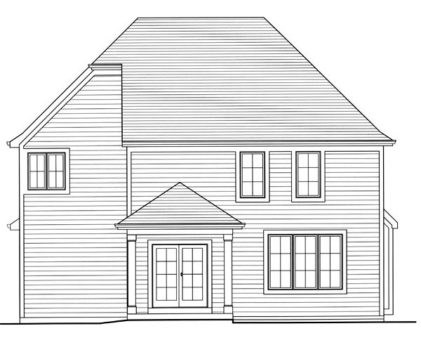Traditional Rear Elevation of Plan 98647