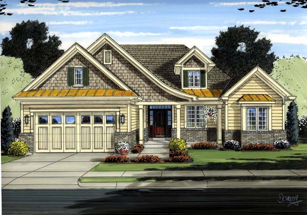 Cottage, European, Traditional House Plan 98650 with 3 Beds, 2 Baths, 2 Car Garage Elevation