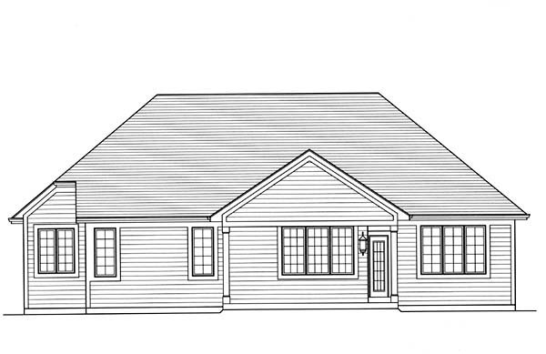 Cottage, European, Traditional House Plan 98650 with 3 Beds, 2 Baths, 2 Car Garage Rear Elevation