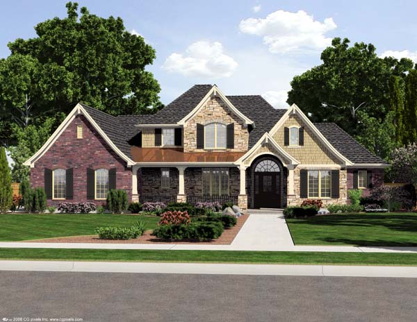 House Plan 98652 | European Style Plan with 2776 Sq Ft, 4 Bedrooms, 3 Bathrooms, 3 Car Garage Elevation