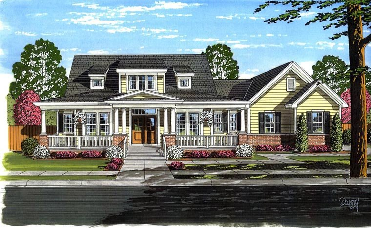 Farmhouse Traditional Elevation of Plan 98656