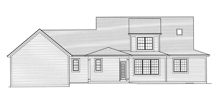 Farmhouse Traditional Rear Elevation of Plan 98656