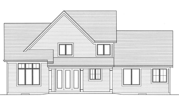 Traditional , Rear Elevation of Plan 98661