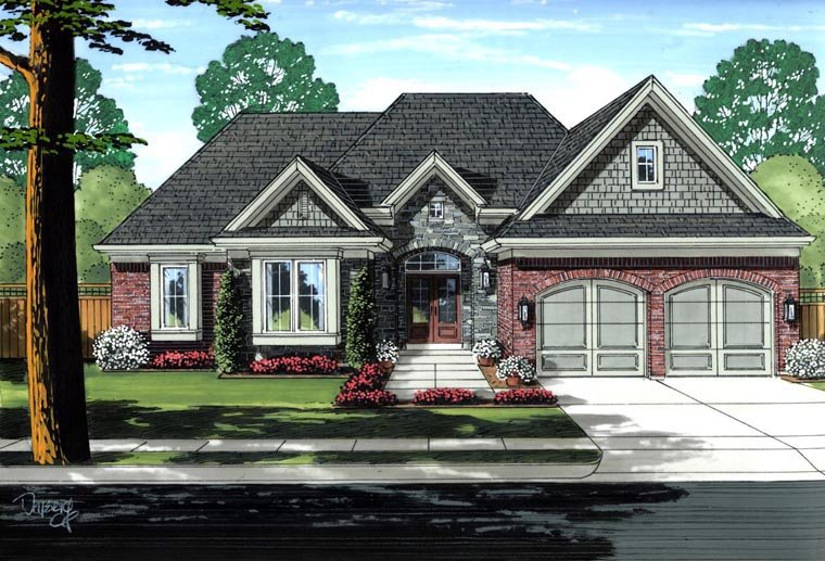 House Plan 98662 | Traditional Style Plan with 2336 Sq Ft, 3 Bedrooms, 3 Bathrooms, 2 Car Garage Elevation