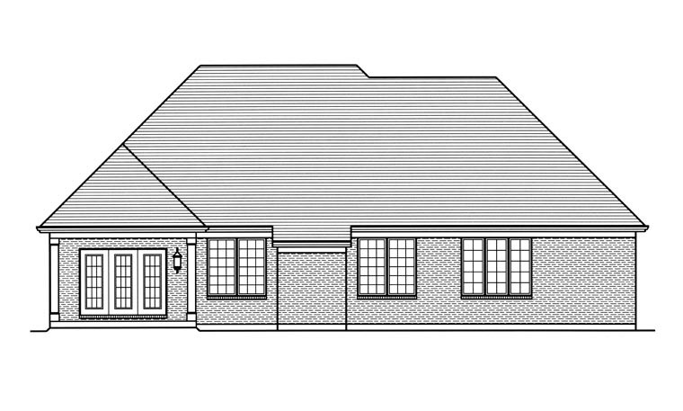 Traditional House Plan 98662 with 3 Beds, 3 Baths, 2 Car Garage Rear Elevation