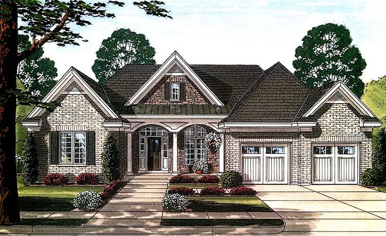 Cottage, Traditional, Tudor House Plan 98664 with 3 Beds, 3 Baths, 2 Car Garage Front Elevation